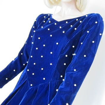80s Sapphire Blue Velvet Dress - Vintage Blueberry - Chetta B - Pearls Pearl Trim - Prom Party Holiday - Small 4
