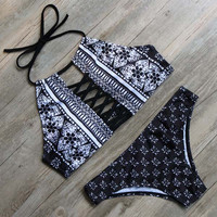 Black High Neck Swimsuit Push Up Bikini Set