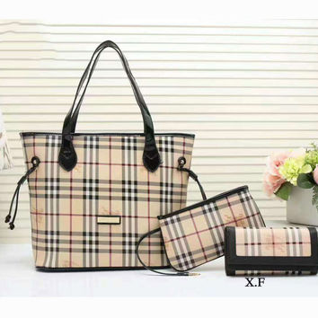 Burberry Women shopping shoulder bag female inclined shoulder bag coffee three piece G-3A-XNRSSNB