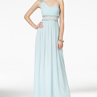 City Studios Juniors' One-Shoulder Illusion Gown - Juniors Shop All Prom Dresses - Macy's