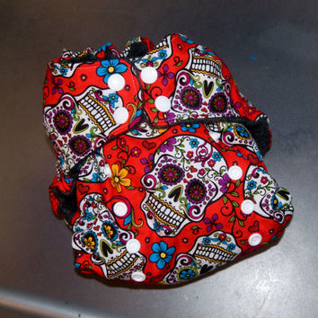Cloth Diaper All-in-Two with Hemp Insert - Red Sugar Skulls