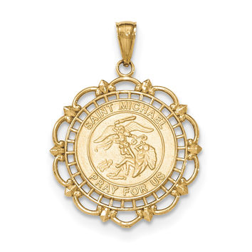 14K Gold Polished & Satin Saint Michael Medal Pendant K5668