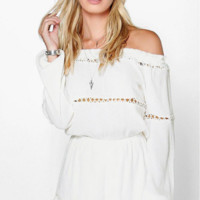 White lace strapless Romper B0014817