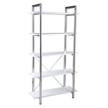 Eurostyle Laurence Leather 5 Shelf Bookcase in White Leather & Chrome