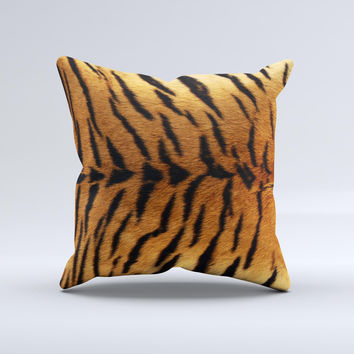 Real Tiger Print Texture Ink-Fuzed Decorative Throw Pillow