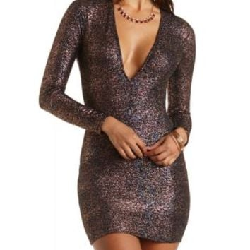 Iridescent Shimmer Bodycon Dress by Charlotte Russe - Multi