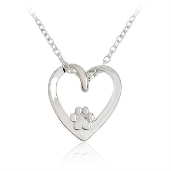 Recycled Paw Heart Necklace Silver Hollow Love Heart shaped Pendant Necklace for Women Girl Dog Owners Pet Animal Jewelry