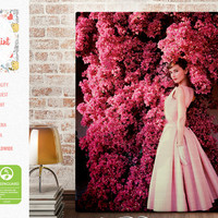 Audrey Hepburn in Givenchy rose Dress Style Icon, Canvas Print FREE SHIPPING fine art print Artwork Giclee decor wall art wall hanging