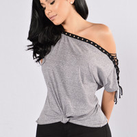 Tonight Is The Night Top - Heather Grey
