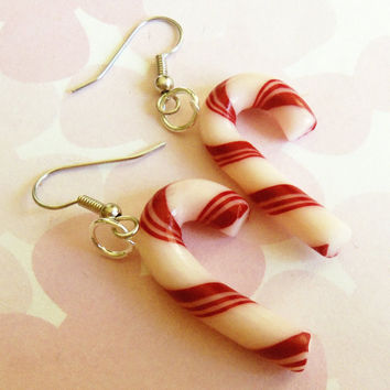 polymer clay candy cane earrings