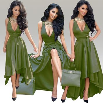 Army Green Sexy V Neck High Low Maxi Dress Front Short Long Back Formal Evening Gown Elegant Long Party Dress