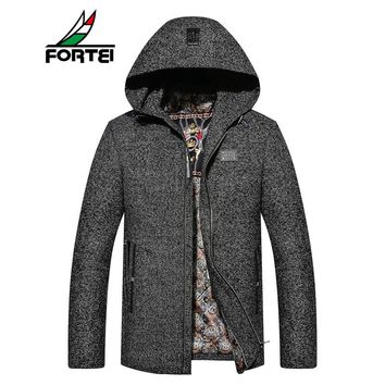 FORTEI 2017 Mens Stylish Fashion Classic Wool Double Breasted Pea Coat Overcoat High Quality Men Coats Fashion Trench Outerwear