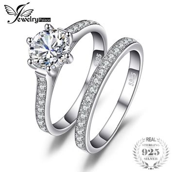 JewelryPalace Wedding and Bridal Cubic Zirconia Six Prong Set Solitaire Ring Set 925 Sterling For Women Birthday Present For Mom