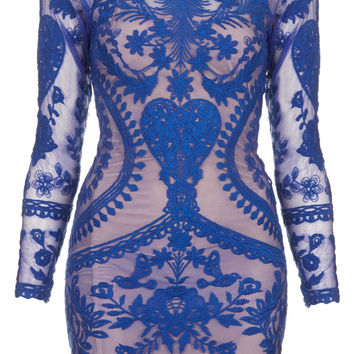 **EMBROIDERY LACE BODYCON DRESS BY GOLDIE