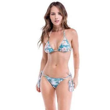 Folly Floral Print Triangle Top & Side Tie Cheeky Bottom Set