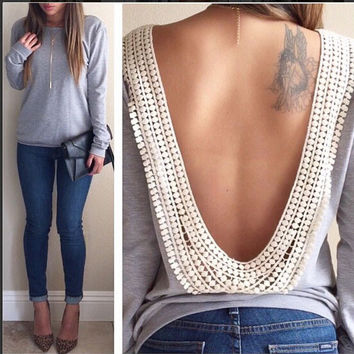 Grey Long Sleeve Backless with Lace Embelishment
