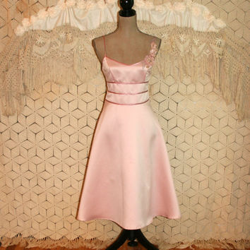 Vintage 80s Prom Dress Princess Pink Party Dress Spaghetti Strap Dress Fit & Flare Dress Pink Satin Dress 2 Size 4 XS Small Womens Clothing