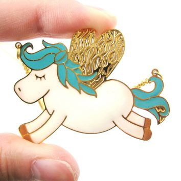 Adorable Pegasus Horse Animal Pendant Necklace in Turquoise on Gold | Limited Edition