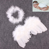 Cute New Born Photography Props Boys Girls White Angel Wings Baby Photography Feather Wings Girls Hair Accessories 0-6 Months