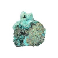 Druzy Quartz on Blue Chrysocolla and Turquoise in rock matrix Mineral Geo Specimen, Raw Gem Silica Rough for a Rockhound Gemstone Collection