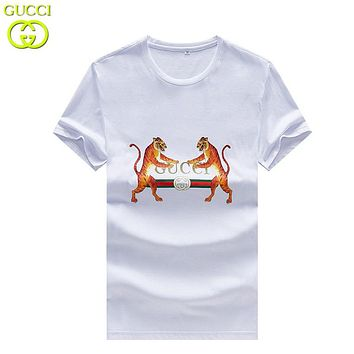 GUCCI Summer Fashion New Letter Tiger Print Women Men Top T-Shirt White