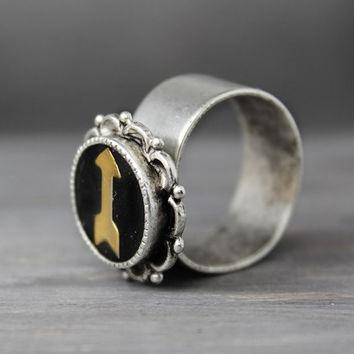 Silver And Brass Arrow Ring, Antique Silver Ring, Ornate Ring, Hand Stamped Ring,  Adjustable Ring,  Handstamped jewelry,