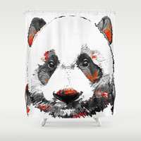 Panda Bear Art - Black White Red - By Sharon Cummings Shower Curtain by Sharon Cummings