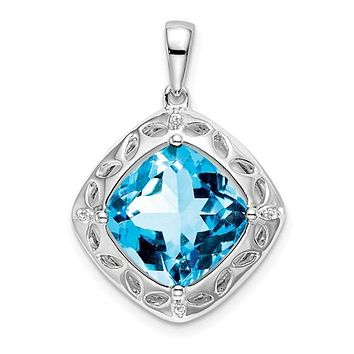 Sterling Silver Swiss Blue Topaz And Diamond Pendant