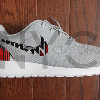 "Nike Roshe Run Grey White ""Red Tribal Aztec"" Custom Men & Womens"