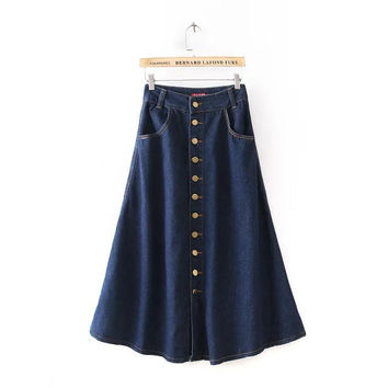 Vintage Denim Skirt [5013202116]