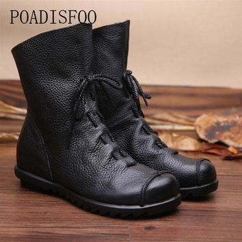 POADISFOO  Genuine Leather Hand made Women 2017 winter women Boots Western boots boots Round Toe Boots woman Shoes .ZXW-1806