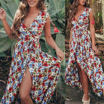 Women Floral Printed Bohemia Beach V-Neck Lace-up Long Maxi Cardigan Dress
