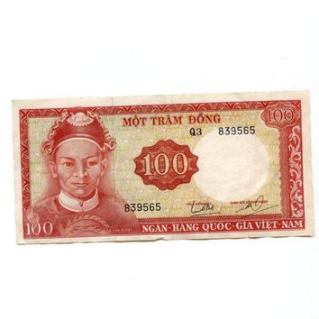 1966 South Vietnam 100 Dong Banknote UNGRADED Circulated