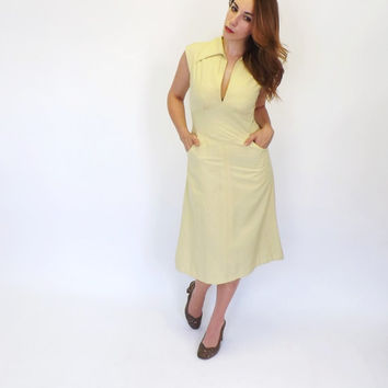 Vintage 1970s Yellow Mod Tank Dress Pointy Collar Summer Dress Hipster Indie Midi Dress Retro Boho Hippie Sundress Kitsch Size Medium Motown