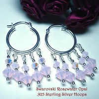 Sterling Silver .925 Hoops with Swarovski Rose Water Opal Crystals | KatsAllThat - Jewelry on ArtFire