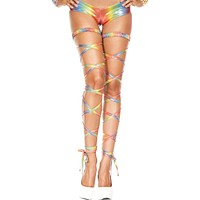 Rainbow Metallic Wet Look Leg Wraps