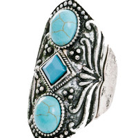 Turquoise Gypsy Ring in Silver