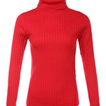 Women High Collar Pure Color Long Sleeve Sweaters