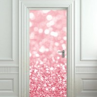 Door cover STICKER poster bling glitter rose decole sparks film 30x79""