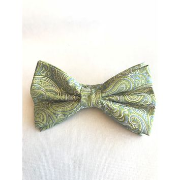Olive Green and Light Blue Paisley Bow Tie