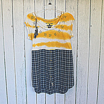 Repurposed Women's Clothing / Dress / Tunic / Upcycled Babydoll Shirt / Boho Hippie Chic Clothes