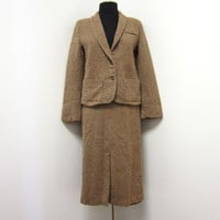 1970s Autumn Beige Synthetic Wool Textured Suit - Single Breasted Jacket Slim Fitting Wiggle Skirt - Small - Vegan