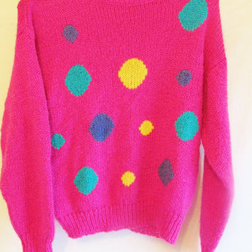 Vintage 1980's Abstract Pink Polka Dot Sweater