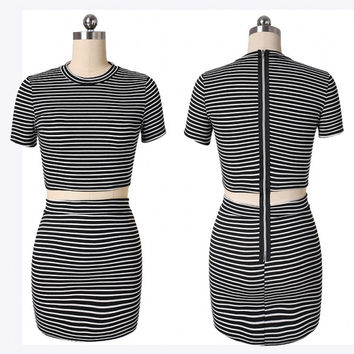Newest Newest Women O-Neck Short Sleeve Stripe Stretch Dress High Waist Splice Pencil Dress