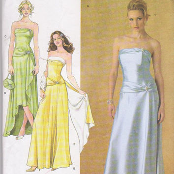 Pattern for Jessica McClintock strapless formal prom evening special occasion dress misses size 8 10 12 14 16 Simplicity 4272 UNCUT
