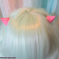 Pastel Goth Horn Hair Clips (Pink)