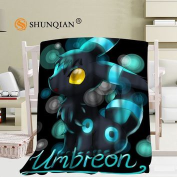 Custom Umbreon Eevee  blanket Flannel  Fabric 58x80inch 50X60inch 40X50inch Sofa Bed Blanket Kid Adult Warm BlanketKawaii Pokemon go  AT_89_9