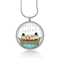 Pilgrims Necklace - Thanksgiving Pendant - Holiday Jewelry - Mayflower