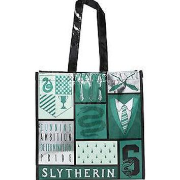 Licensed cool Harry Potter SLYTHERIN Snake Metallic Reusable Grocery Shopping ECO Tote Bag NWT
