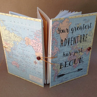 Adventure Book - Map Journal - Travel Journal with Pockets and Envelopes - Graduation or Honeymoon Gift - Choice of Quotes